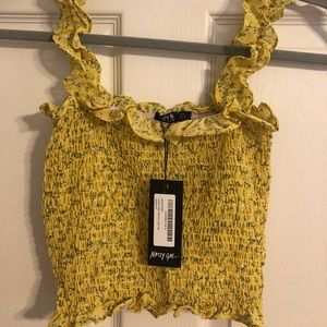 Nasty Gal Tops - Yellow Floral Smocked Tank